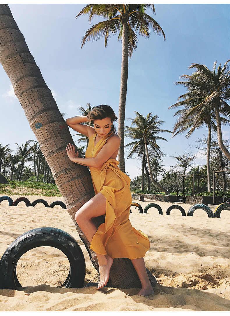 Boho style женское сексуальное однотонное модное платье с открытой спиной женское богемное длинное платье без рукавов женское 2019 летнее платье с поясом желтое