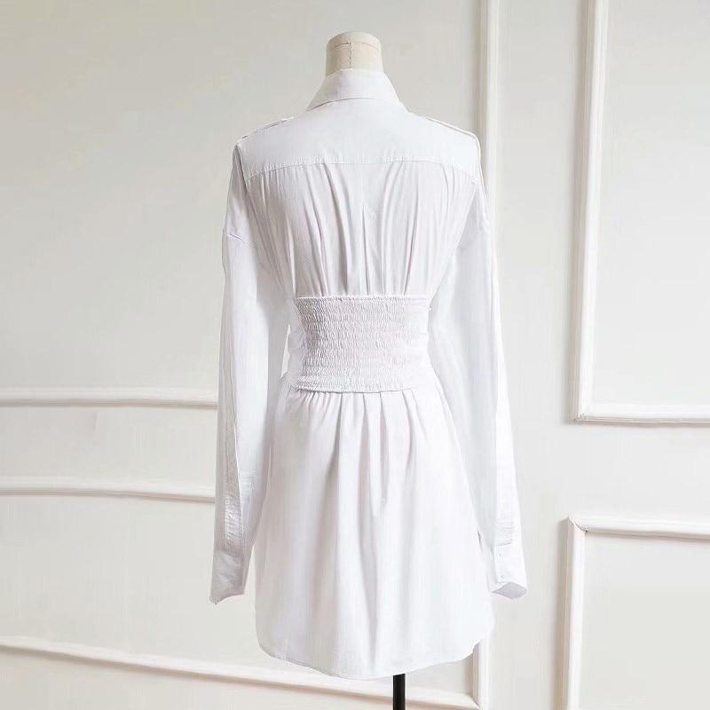 TWOTWINSTYLE Autumn Dresses For Women Lapel Long Sleeve High Waist Adjustable Waist Mini Dress Female Fashion Clothing New 2019