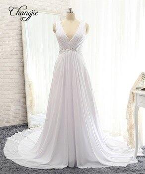 Nuevo vestido de novia largo Simple 2018 cuello pico manga casquillo corte...