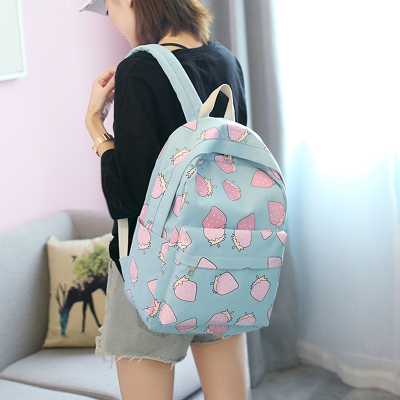 College Girl Canvas Backpack Fruit Printing Women School Backpacks Schoolbag for Teenagers Student Book Bag Preppy shoulder bags
