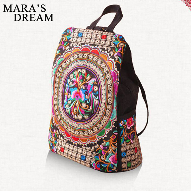 f93a813a6089 National trend canvas embroidery Ethnic backpack women handmade flower  Embroidered Bag Travel Bags schoolbag backpacks mochila