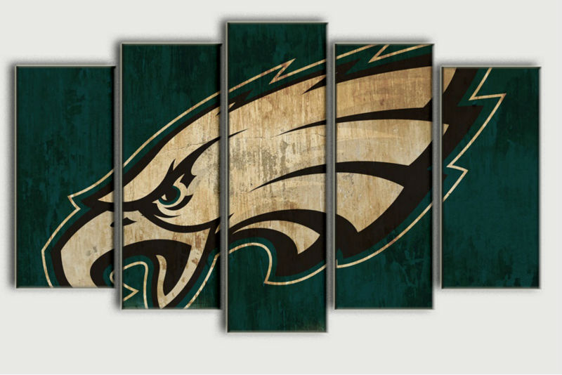 5 panel HD printed oil painting eagle sports team logo poster canvas print home decor wall art pictures for living room F0393