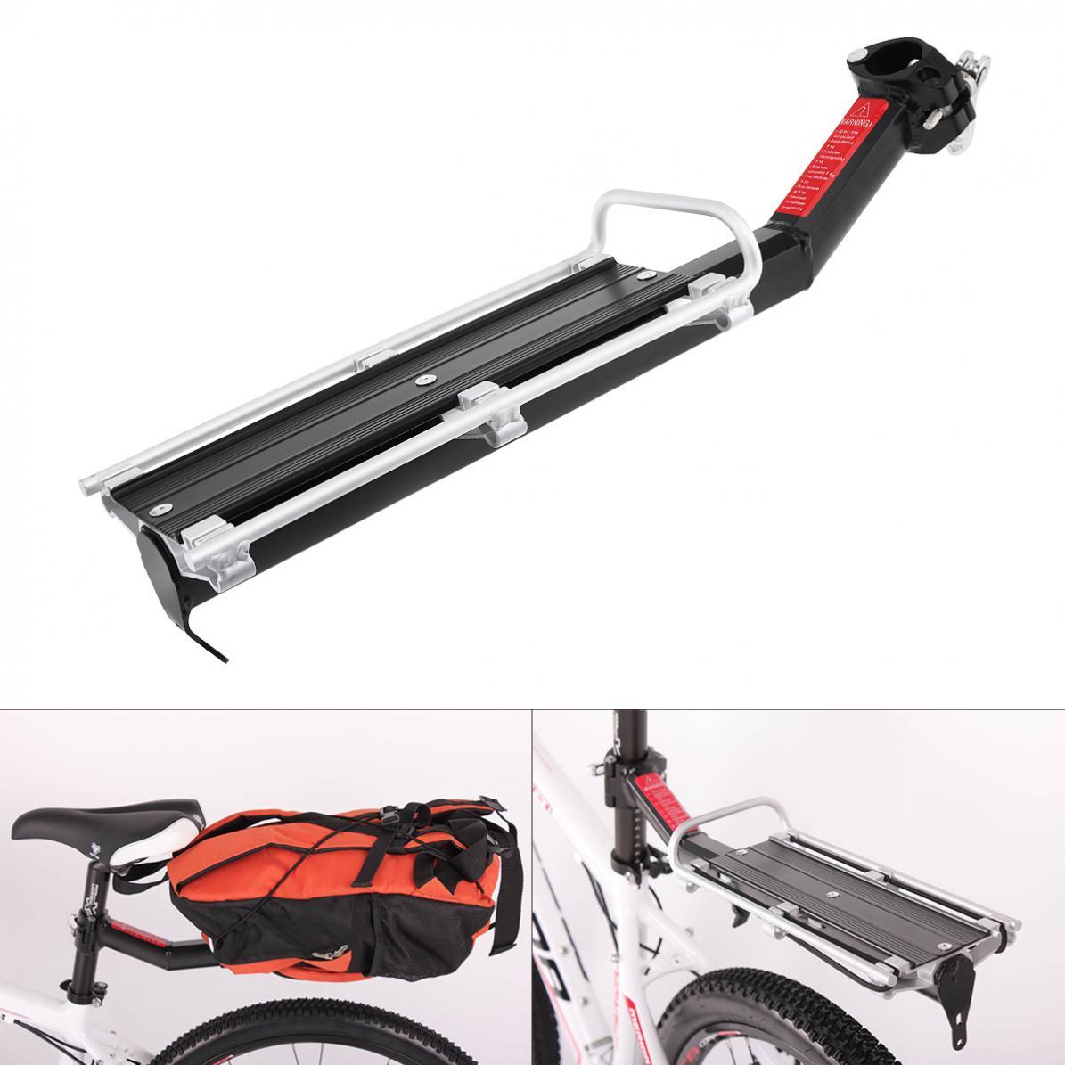 Preto rack de bicicleta liga alumínio bagagem traseiro tronco portador para bicicletas mtb bicicleta prateleira traseira ciclismo cremalheiras