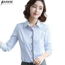 a4d1f0c4d4 Moda odzież kobiety niebieskie paski koszula 2018 nowy formalne biznes slim  z długim rękawem bluzka z długim rękawem panie biuro.