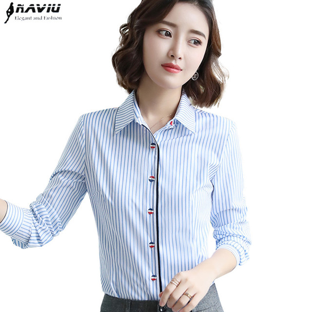 10e34d4cc74 US $13.73 32% OFF|Fashion clothes women blue stripes shirt 2018 new formal  Business slim long sleeve blouse office ladies work plus size tops-in ...
