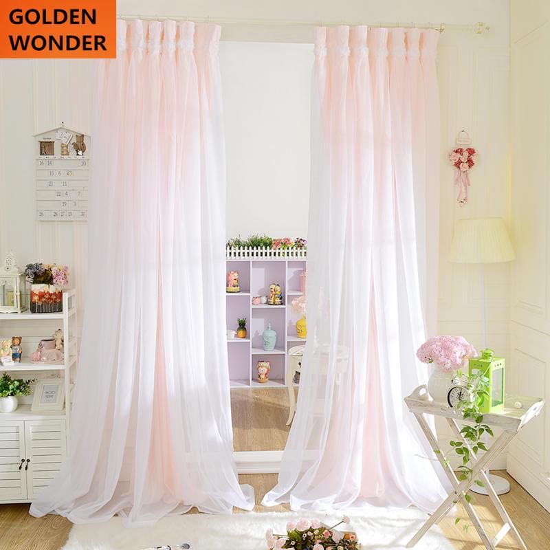 Marke Neue Luxus Vorhänge Für Wohnzimmer Spitze Prinzessin Halbschatten  Fenster Vorhang Tüll Für Mädchen Blau Vorhänge
