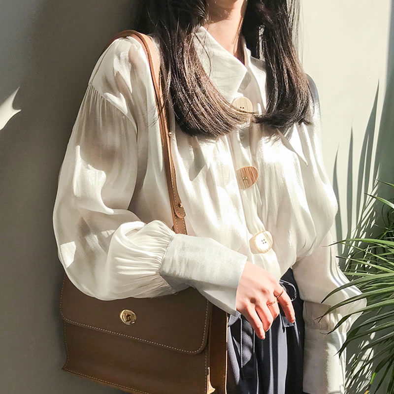 Blusa Collar Lyh3119 2019 Sólido Manga Giro xitao Camisa green Mujer white Diseño Suelto Primavera Color Completa Apricot Lyh3119 Breasted De abajo Único Lyh3119 qOnwzt1wY