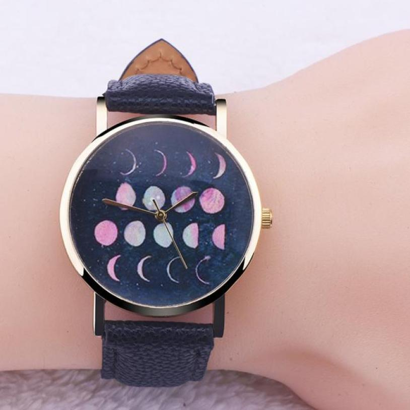Women Lunar Eclipse Pattern Leather Analog Quartz Wrist Watch Orologio Donna ladies Watches Casual Montre Femme