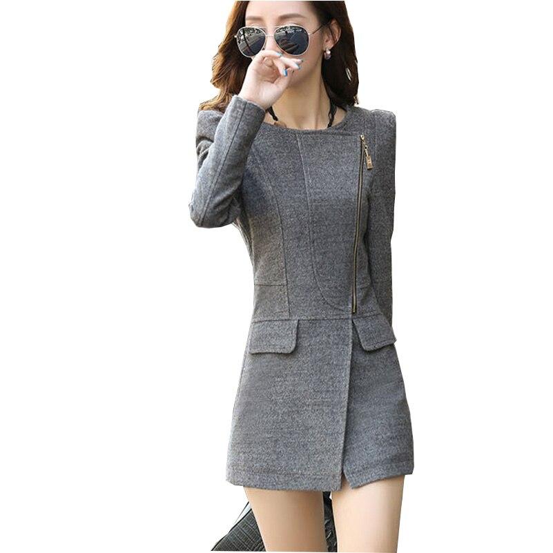 New Fashion 2019 Spring Autumn Women's Long Woolen Blend Coat Plus Size Slim Wool Coat Black Grey Coat Cashmere