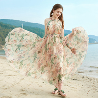 Digital printing Floral Chiffon Maxi dress Gown Summer halterneck Sundress for garden holiday parties weddings guest dress plus