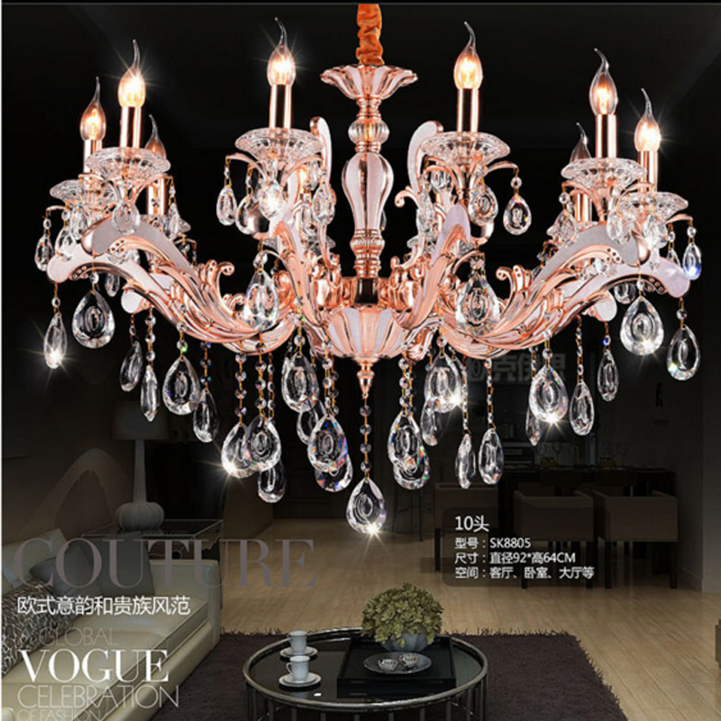 Moderne lustre en cristal bougeoir lustre pour foyer rose d'or salle à manger salon childern tube lustres lumière
