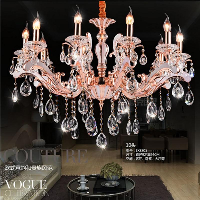 Moderno lampadario di cristallo supporto di candela lampadario per foyer oro rosa sala da pranzo soggiorno childern tubo lampadari luce