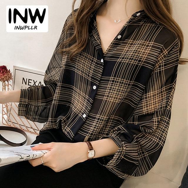 1058c0dbeb7 2019 Autumn Chic Plaid Shirts Women Batwing Sleeve Chiffon Blouses Casual  Chemise Femme Tops Plus Size Tartan Blusas Mujer
