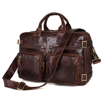 Nesitu Vintage Large Capacity Coffee Brown Genuine Leather Men Messenger Bags Briefcase Shoulder Male Travel Bag M7026