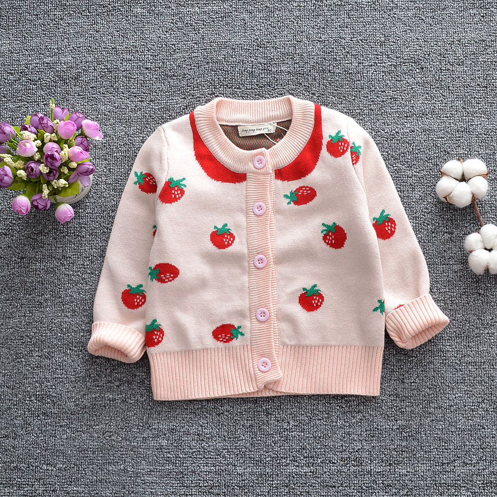 Pink Baby girl strawberry sweaters toddler cardigan kids fall knit coat girls sweater 1-6T