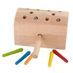 Neue 10Pcs Insekten Grundlegende Pädagogisches Entwicklung Holz Magnetischen Fangen Insekten Spiel Spielzeug Kinder Kinder Montessori Pädagogisches T