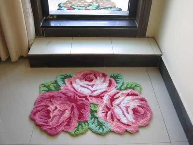 60*80 CM 3D pastorale Rose tapis décoratif chambre tapis à la main tapis de mariage