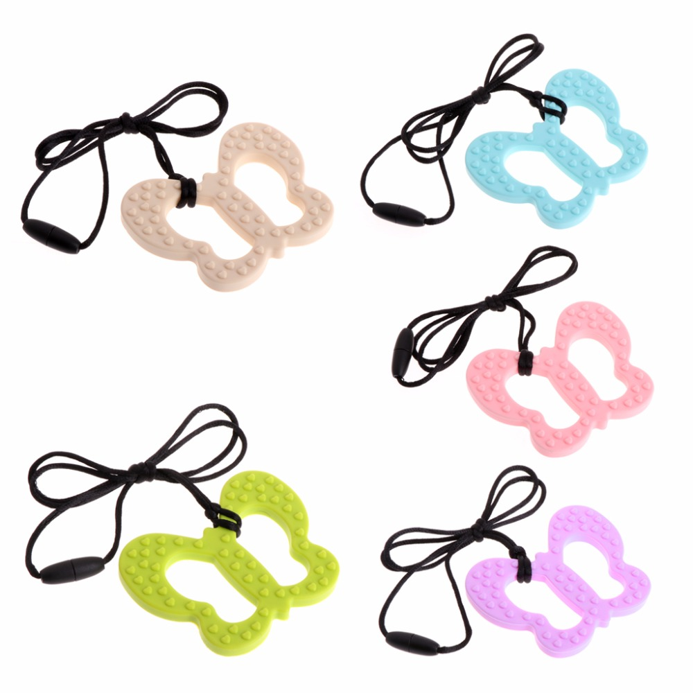 Butterfly Shaped Silicone Baby Teething Toy Food Grade Teether Grind Babys Teeth