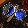 Buena Elección de Pareja Reloj de pulsera Hombres de Oficina mujeres Números Romanos de Cuarzo Analógico Reloj de Pulsera De Cristal Azul Claro 5J51