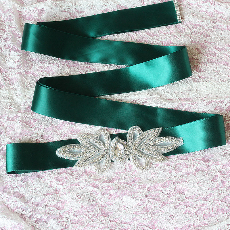 iLoveWedding Wedding Sashes Satin with Bling Beads Crystal 11 Color In Stock Bridal Accessories Cheap Bride Belt Free Shipping