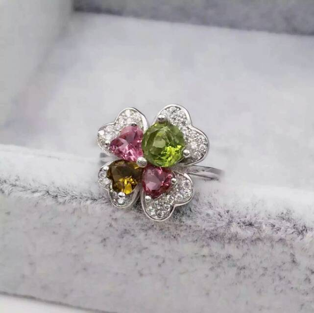 Natural multicolor tourmaline Ring Natural peridot Ring S925 sterling silver trendy Elegant Clover women girl gift