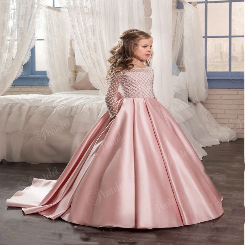Фотография Long Sleeve Flower Girls Dresses For Weddings Satin Sexy Mother Daughter Dresses A-Line First Communion Dresses for Party Frocks
