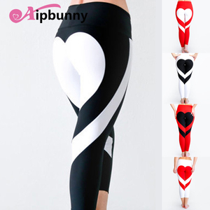 AipBunny 2018 New Hot Big Heart Shape at Hips Push up Women's Breathable  Elastic trousers Splice Leggings Fitness Women Pants