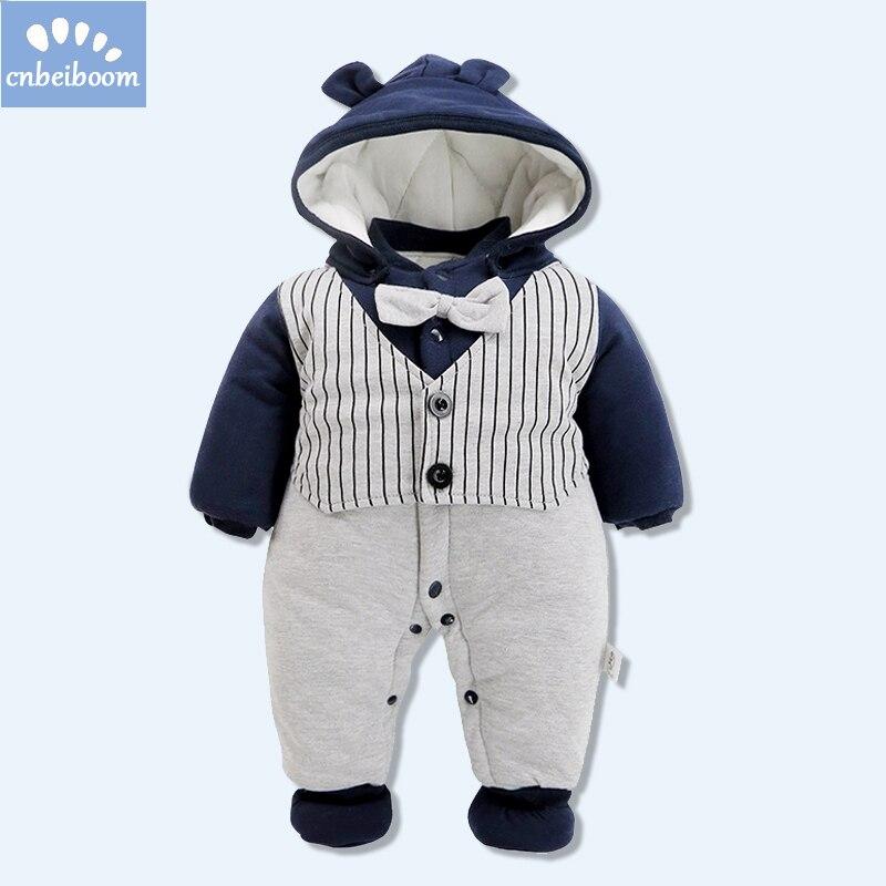 2018 new baby winter clothes gentleman romper cotton warm Thicken jumpsuit hooded shoes vest bow tie rompers newborn clothing dedo mg 381 british gentleman bow tie black