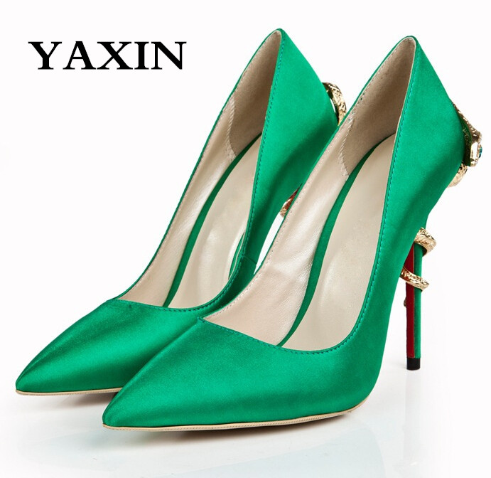 2015 Designer Plus Size Silver/Green/Blue/Red/Gold/Yellow Prom Shoes Pointed Toe High Snake Heels Ladies Fashion Party - Anna's World store