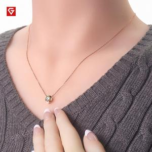 Image 2 - GIGAJEWE 0.5ct 5mm EF Round 18K Rose Gold Plated 925 Silver Moissanite Necklace Diamond Test Passed Jewelry Woman Girl Gift