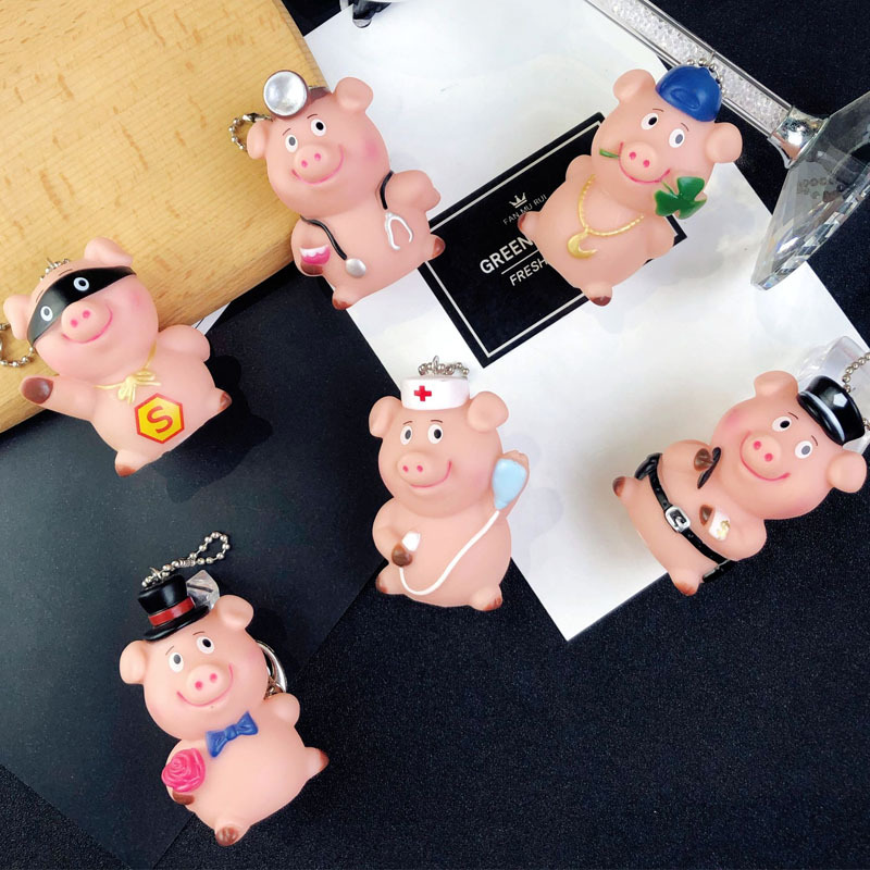 Cartoon Cute Different occupations pig keychain 3D PVC Mascot Key Chain Ring For Women Car Key Holder Bag Purse Jewelry in Key Chains from Jewelry Accessories
