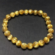 Certificate Natural Gold Rutilated Quartz Crystal Woman Man Bracelet 7mm Titanium Gemstone Round Beads Wealthy Stone AAAAA