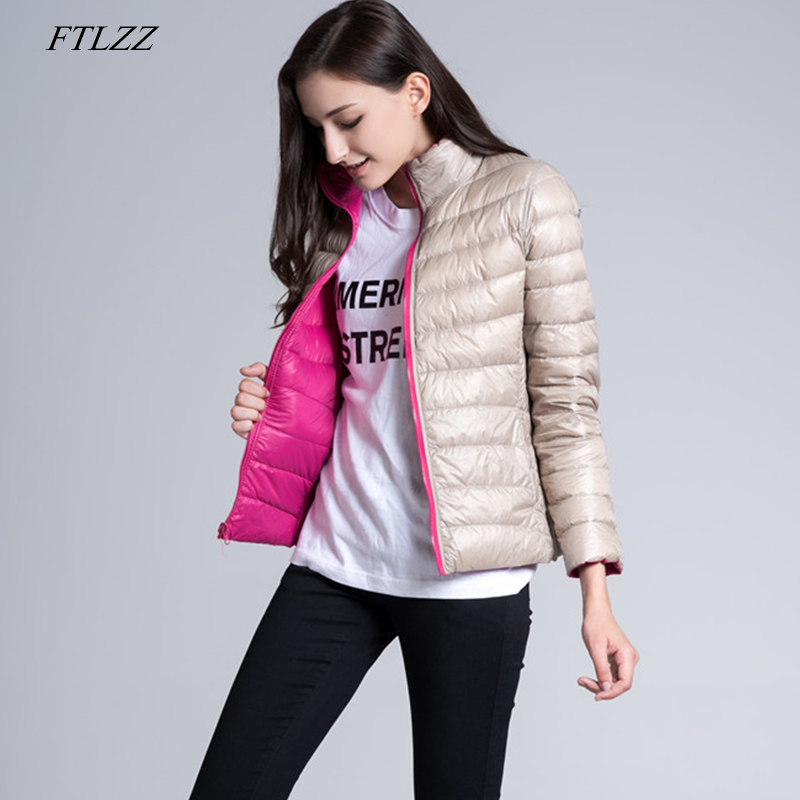 FTLZZ Winter Down Jacket Women Ultra Light 90% White Duck Down Double Side Short Coats Female Slim Warm Parkas