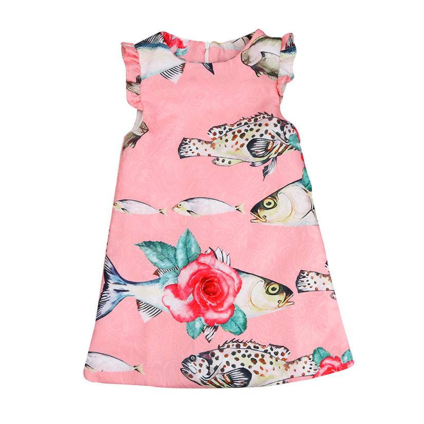 Baby' Zone Store Mooistar2 #L030 Toddler Kids Baby Girls Summer Clothes Printing Sleeveless Dress Tutu Dresses