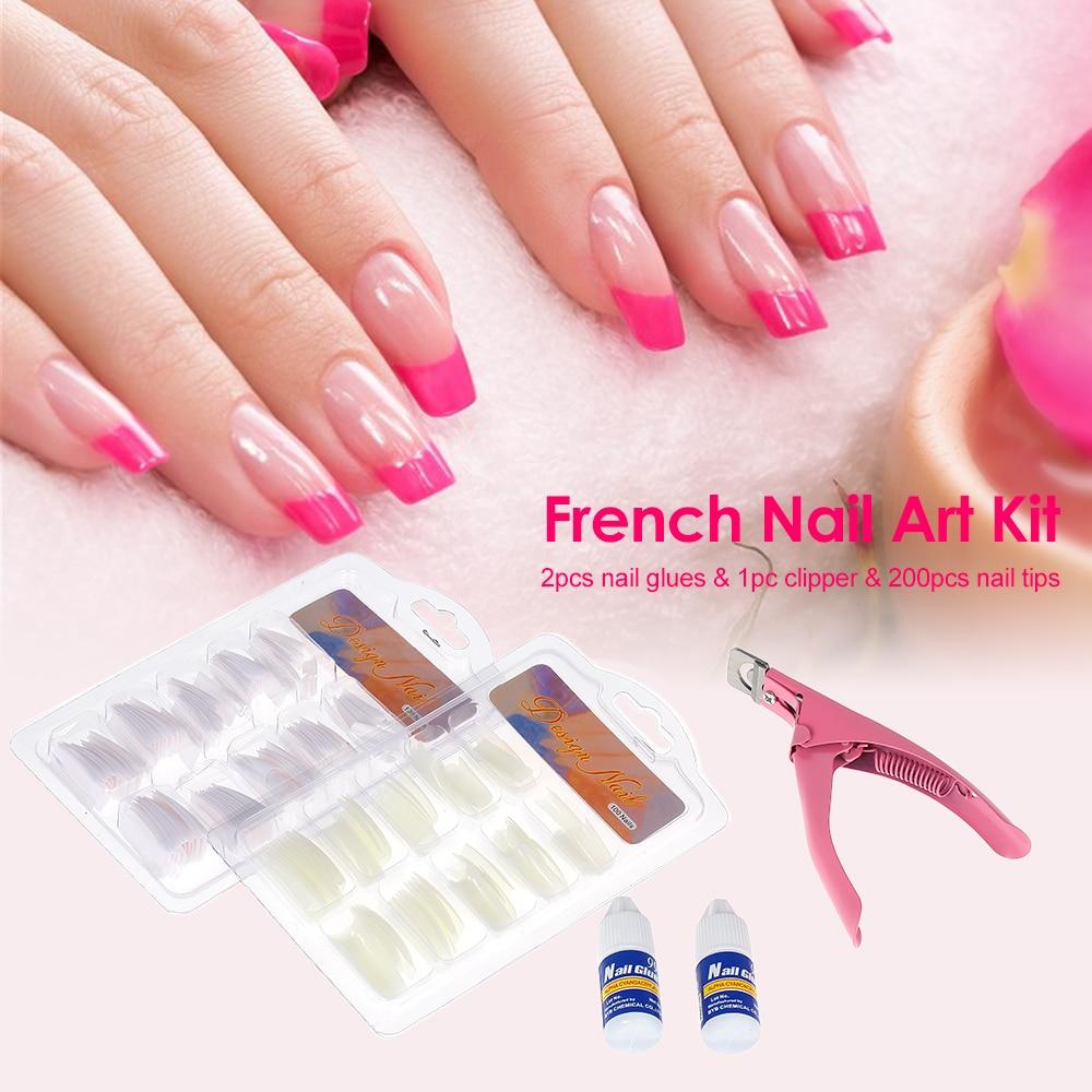 200pcs Acrylic French Nail Tips Nail Art Glue U shape Cut Cuticle ...