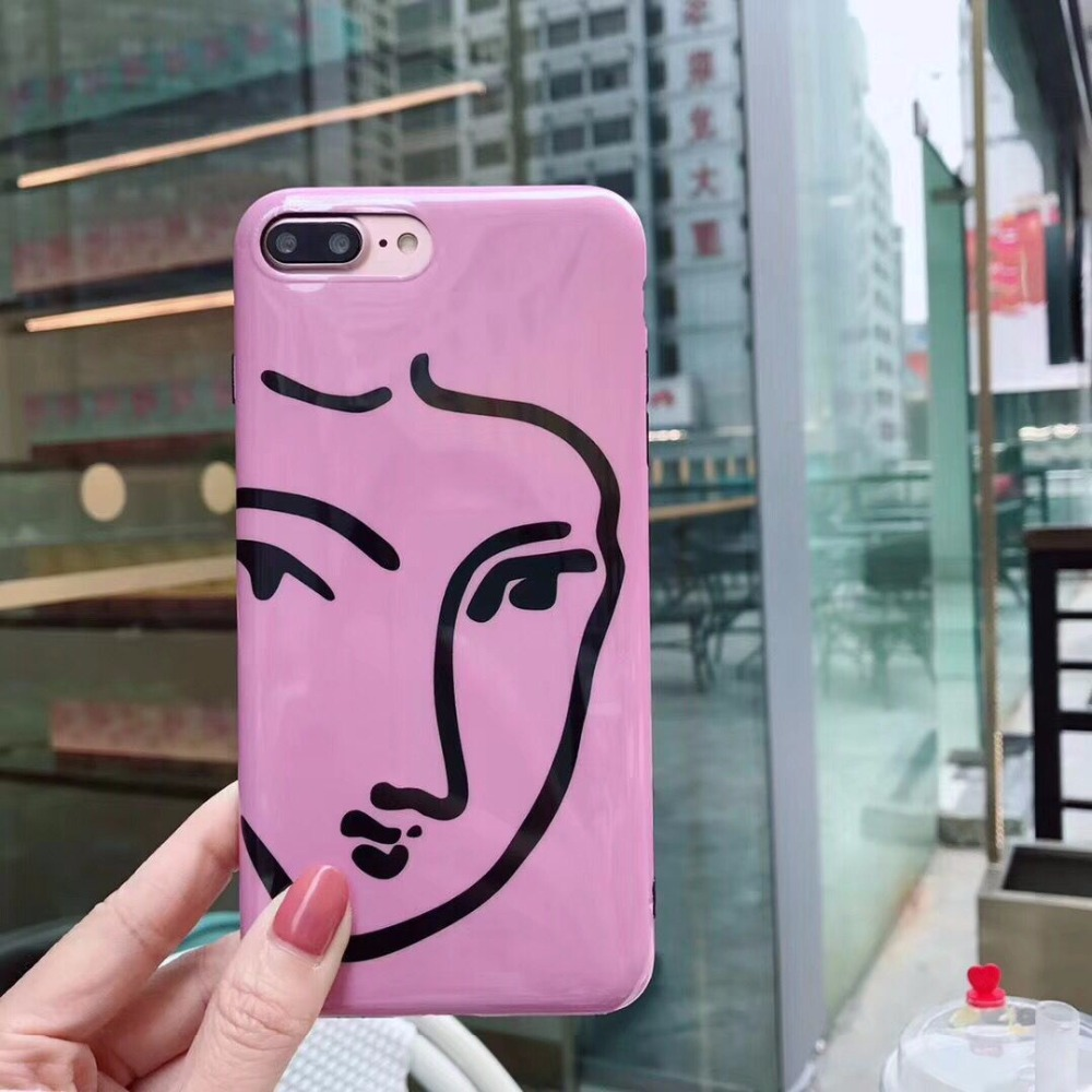 Funny Face Lines Soft Silicone Mobile Phone Case For iPhone 8 8Plus Bright&Shine Plastic Geometric Cellphone Protective Shell