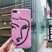 Funny Face Lines Soft Silicone Mobile Phone Case For IPhone 8 8Plus Bright Shine Plastic Geometric