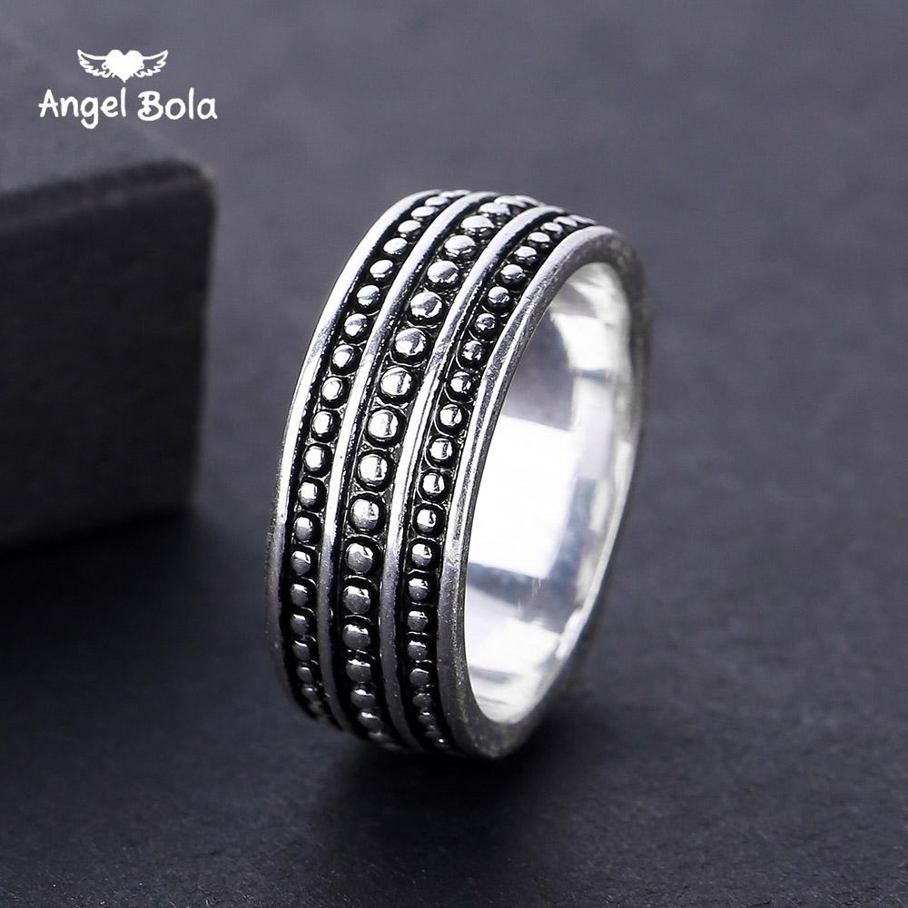 2018 Trendy Vintage Buddha Rings for Women Ancient Silver Point Rings Men Cool Rock Punk Antique Silver Ring Jewelry Wholesale
