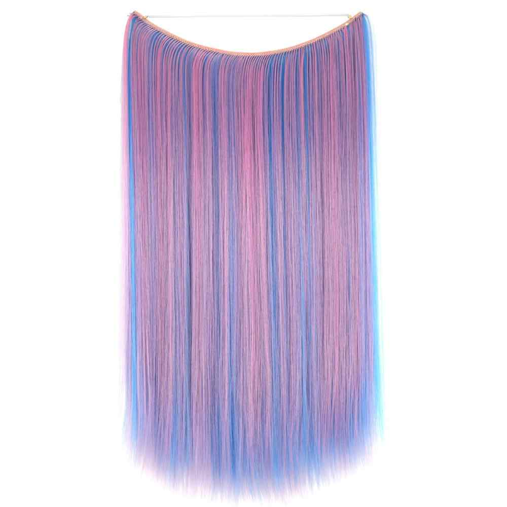 "TOPREETY Heat Resistant Synthetic Hair Straight 24"" 60cm 110g Elasticity Invisible Wire Halo Hair Extensions 8106"