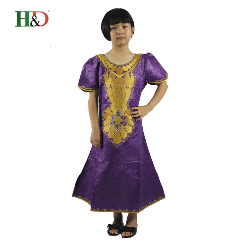 H&D 2017 new style African bazin traditional african dresses for girl embroidering clothing children's clothing