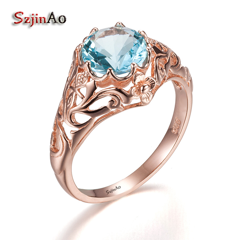 Szjnao New Custom 925 Silver Rose Gold Color Rings Flower Jewelry Western Romantic Women Natural Aquamarine Ring Hollow Out punk style pure color hollow out ring for women