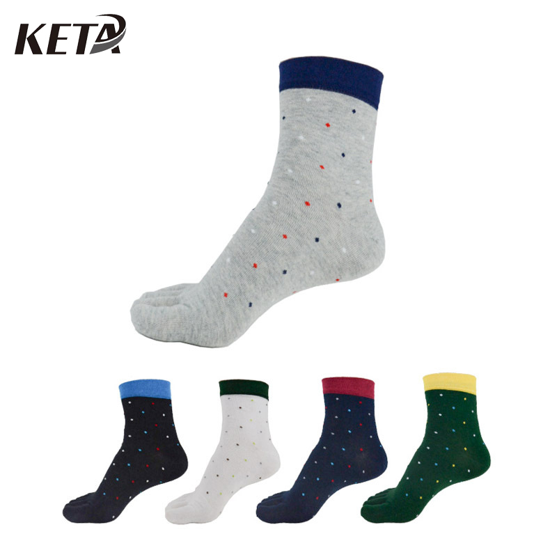 KETA New Fashion Colorful Business Dress Socks Men Brand Cotton Toe Socks Male Casual Crew Five Finger Socks (5Pairs/lot)