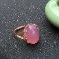 CoLife Joyería extravagante anillo de cuarzo rosa 12mm * 16mm de alta calidad de cristal en polvo natural real 925 stering plata joyería