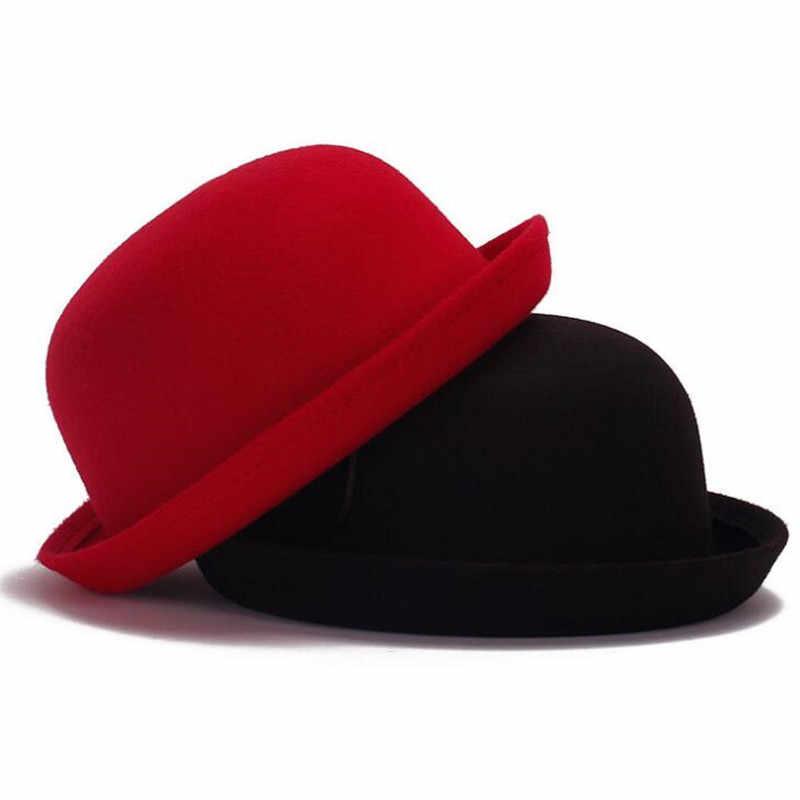 2cc334ee735d1 Retail Little girls fedora hat Dome cap Children dress hats Kids caps felt hats  wool felting