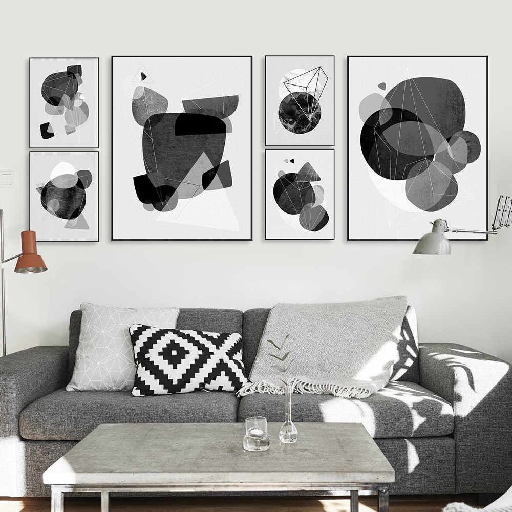 Modern Abstract Geometric Shape Poster Nordic Triptych Wall Art Print Picture Living Room Home Decor Canvas Painting No Frame