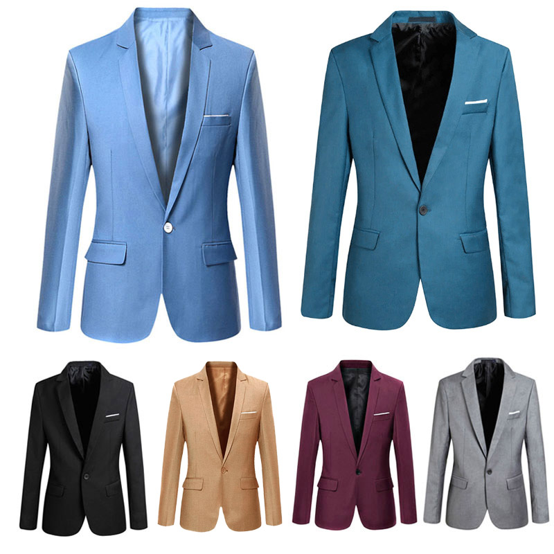 Spring Autumn Long Sleeve Solid Color Slim Man Casual Thin Suit Jacket Office Blazers