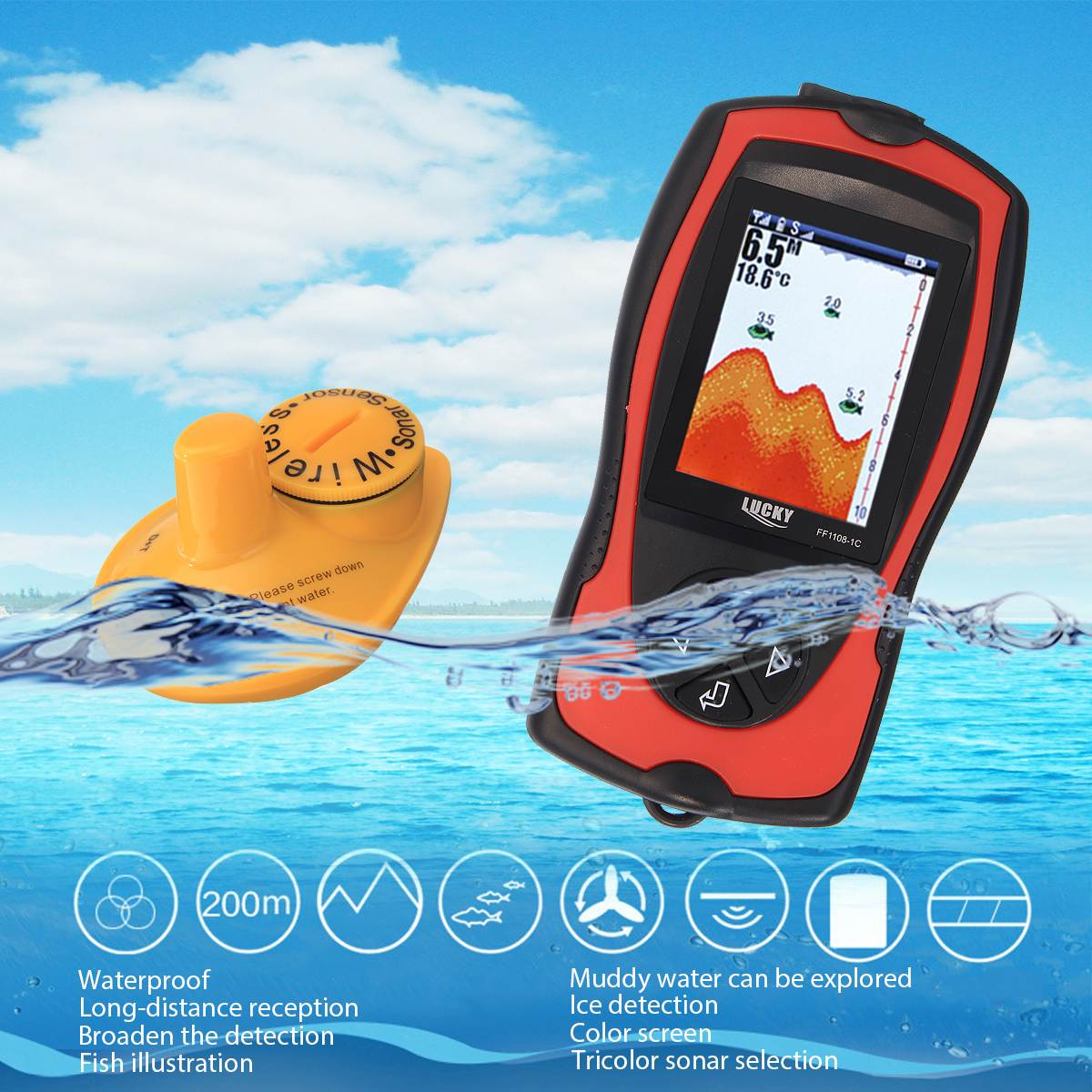 Lucky FF1108-1CW Single Beam Wireless Fish Finder lucky ff 718 duo с зимним датчиком