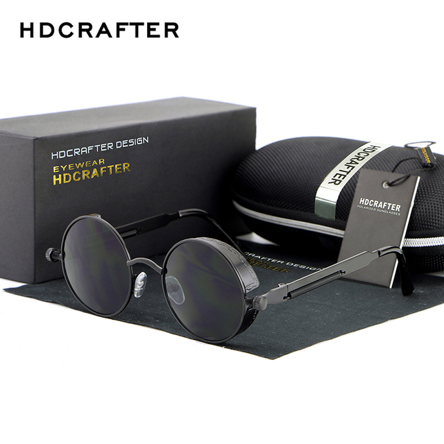 HDCRAFTER Vintage Round lens Sunglasses Men/women Polarized Gafas Oculos Retro Coating Sun Glasses