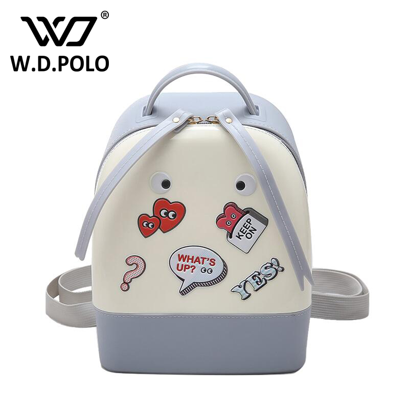 WDPOLO New all over sticker women jelly backpack pretty hot lady shoulder bag female two function