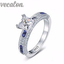 Vecalon Marca de Moda Femenina anillo de Zafiro Simulado diamond Engagement wedding Band anillo Cz 925 Plata Esterlina para las mujeres